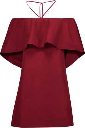 ALICE + OLIVIA Off-the-shoulder cotton-poplin mini dress