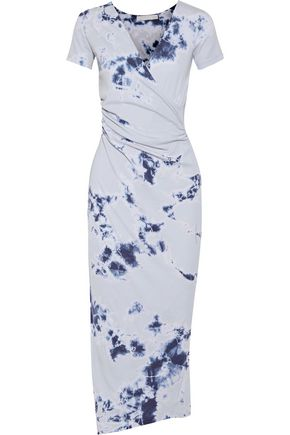 KAIN Jacquetta wrap-effect tie-dyed cotton and modal-blend midi dress