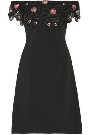CHRISTOPHER KANE Off-the-shoulder open knit-trimmed embellished crepe dress