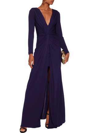 BADGLEY MISCHKA Twist-front jersey gown