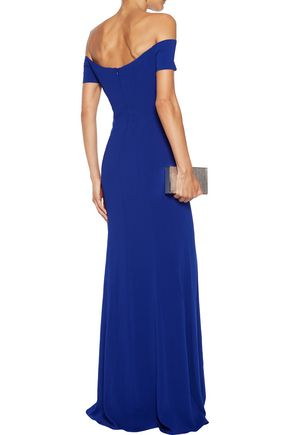 BADGLEY MISCHKA Octopus off-the-shoulder pleated cady gown