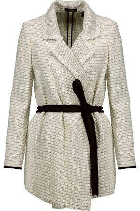 THEORY Frayed belted cotton-blend bouclé-tweed jacket