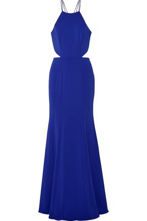 MARCHESA NOTTE Tasseled cutout stretch-cady gown