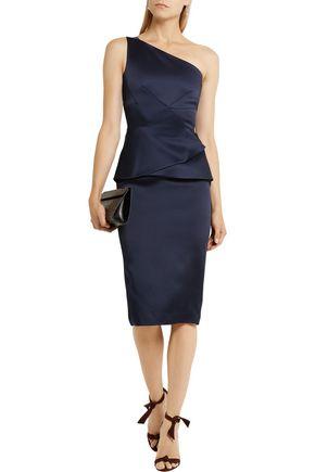 ROLAND MOURET Anerley one-shoulder satin midi dress