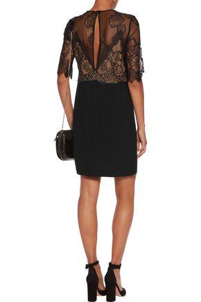 SANDRO Layered lace and crepe mini dress