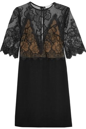 SANDRO Paris Barbara layered lace and crepe mini dress