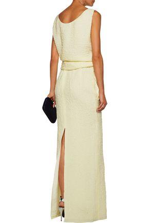 NINA RICCI Tie-front silk-blend seersucker midi dress