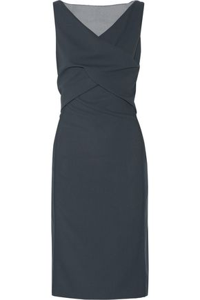 NINA RICCI Wrap-effect organza-paneled wool-twill dress