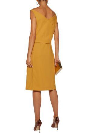 NINA RICCI Wrap-effect organza-paneled wool-twill dress