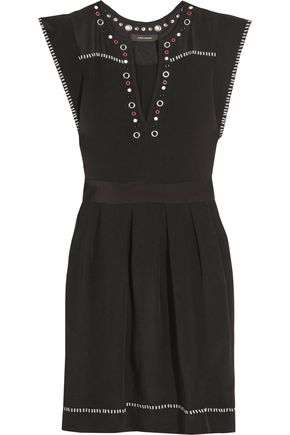ISABEL MARANT Button and eyelet-embellished silk-twill mini dress