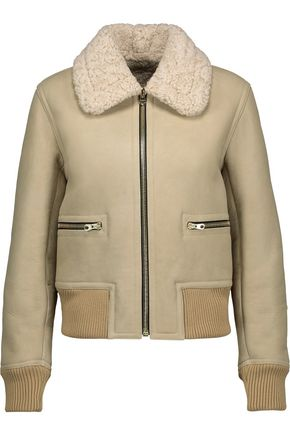 SANDRO Paris Shearling biker jacket
