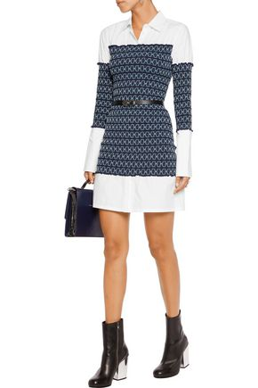 OPENING CEREMONY Smocked cotton-poplin mini dress