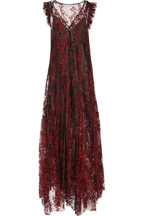OPENING CEREMONY Glittered embroidered tulle maxi dress