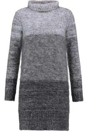 RAG & BONE Melina striped wool and silk-blend turtleneck dress