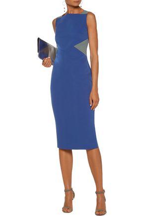 RAOUL Blaire two-tone crepe dress