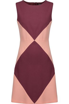 RAOUL Marcelle two-tone textured-crepe mini dress