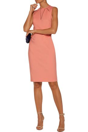 RAOUL Jackie tulle-trimmed cutout stretch-crepe dress