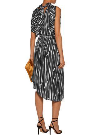 RAOUL Metropolis asymmetric printed silk wrap midi dress