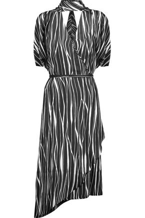 RAOUL Metropolis asymmetric printed silk wrap midi dress