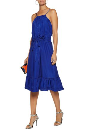 RAOUL Prairie ruffled silk-satin twill dress