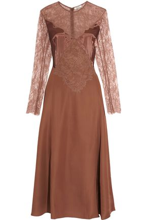 NINA RICCI Lace-paneled satin midi dress
