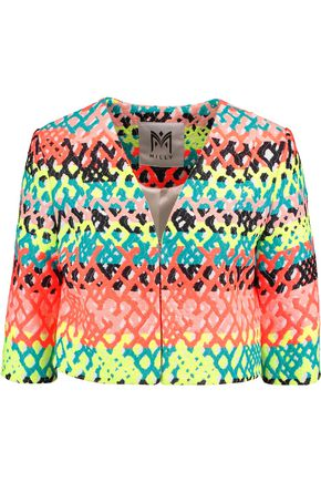 MILLY Cropped jacquard jacket