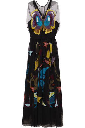 MARY KATRANTZOU Monroe intarsia plissé-tulle midi dress