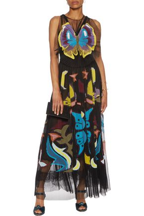 MARY KATRANTZOU Monroe intarsia plissé-tulle midi dress