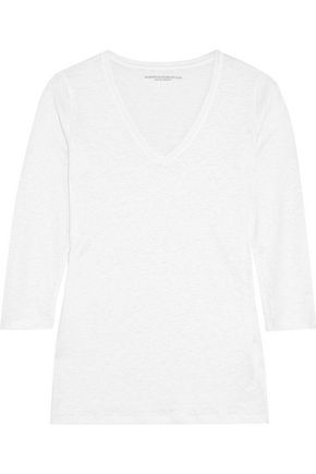 MAJESTIC Stretch slub linen top