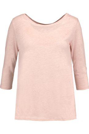 MAJESTIC Slub linen and silk-blend top