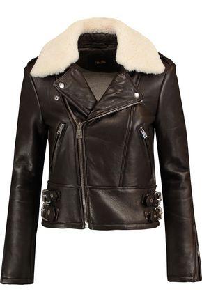 MAJE Shearling-trimmed leather biker jacket
