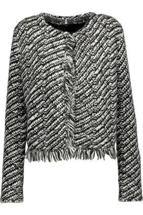 MAJE Mask metallic fringed jacquard-knit jacket