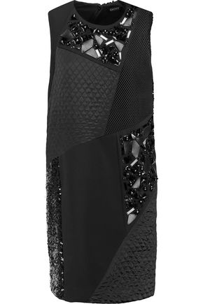 DKNY Embellished paneled crepe mini dress