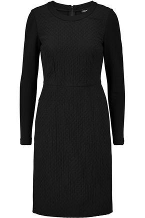 DKNY Matelassé silk-blend and jersey dress
