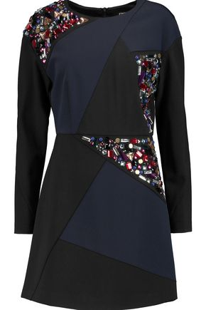 DKNY Embellished ponte mini dress