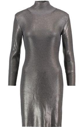 NINA RICCI Iridescent coated ribbed wool-blend turtleneck dress