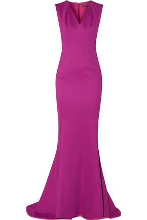 ZAC POSEN Fluted pleated ponte gown