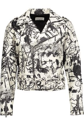 SAINT LAURENT Printed textured-leather jacket