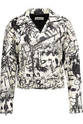 SAINT LAURENT Printed textured-leather jacket