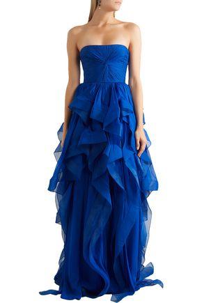 REEM ACRA Strapless ruffled silk-chiffon gown
