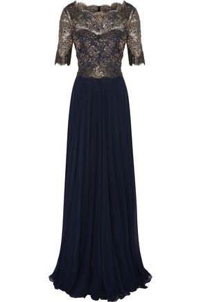 REEM ACRA Sequined metallic lace-paneled silk-georgette gown