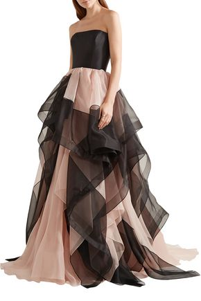 REEM ACRA Strapless layered silk-faille and tulle gown