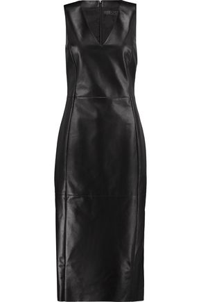 DROMe Strapless leather midi dress