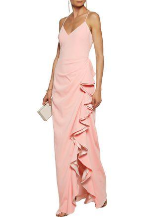 BADGLEY MISCHKA Ruffled crepe gown