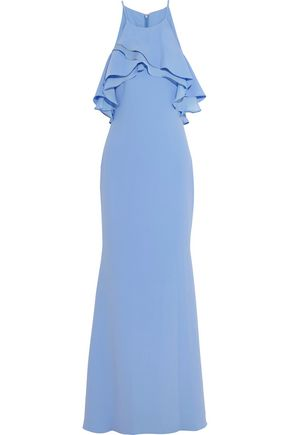 BADGLEY MISCHKA Off-the-shoulder ruffled crepe gown