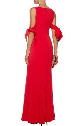 BADGLEY MISCHKA Cutout stretch-cady gown