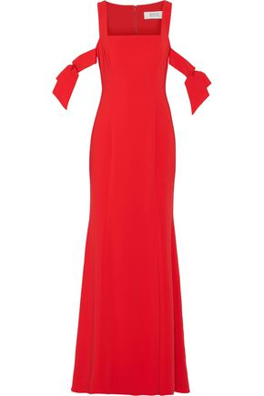 BADGLEY MISCHKA Cutout stretch-cady gown