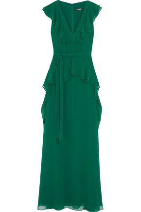 BADGLEY MISCHKA Bow-detailed ruffled crepe gown