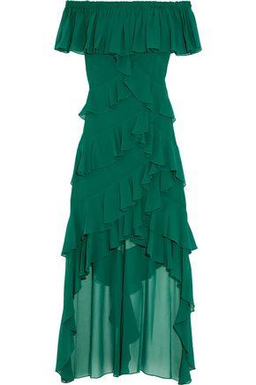 BADGLEY MISCHKA Off-the-shoulder asymmetric ruffled chiffon gown