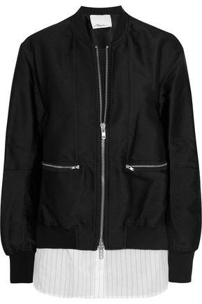 3.1 PHILLIP LIM Poplin-paneled satin-twill bomber jacket